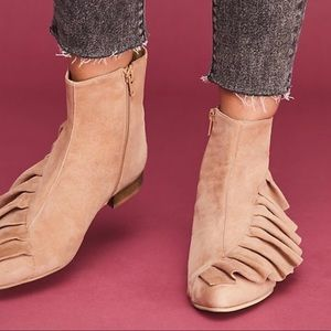 Anthropologie Flat Suede Ruffle Ankle Boot